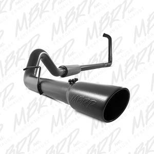 "03-07 Powerstroke 6.0L - 03-07 Powerstroke Exhaust - MBRP INC. - 4"" Turbo Back, Single Side Exit, Off-Road, Black Finish"